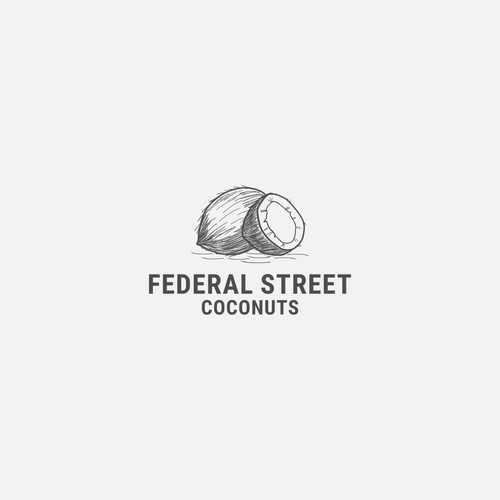 hand drawn coconuts logo for FEDERAL STREET COCONUTS