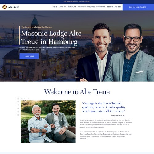 Webdesign for Freemason's Lodge from Hamburg/Germany
