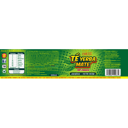 "Bottled Tea ""Yerba Mate"" LABEL design for TFDM Enterprises S.A. de C.V."