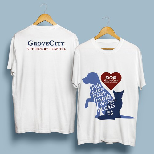 T-shirt and sticker for a veterinary hospital