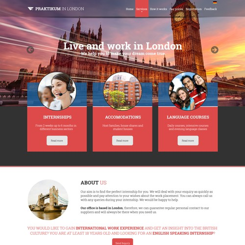 Website Re-Design of International Placement Agency in London