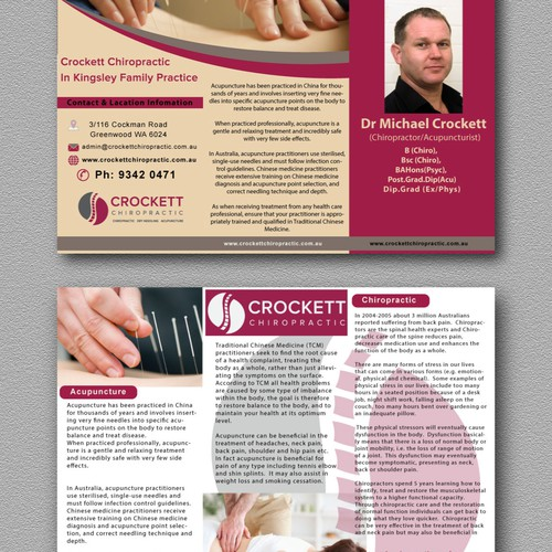 Brochure advertising and promoting chiropractic and acupuncture treatment and clinic