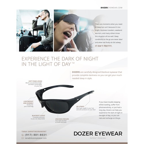Create a Professional Sell Sheet for Dozer Eyewear