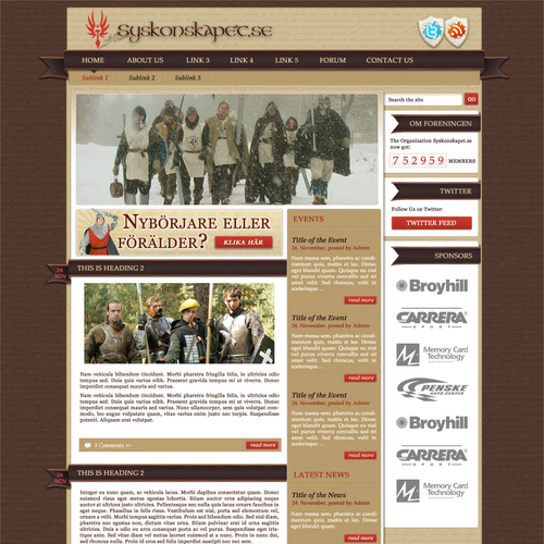 Webdesign for non-profit Larp organization