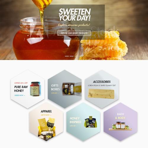 Classy Beautiful Home Page for Carmel Honey Company