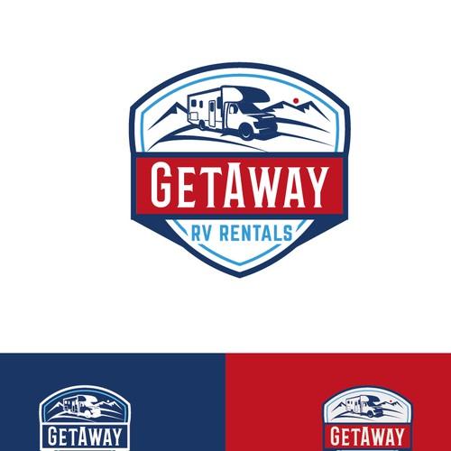 Vintage badge logo for Rv rentals