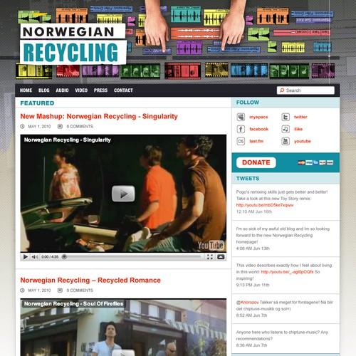 Homepage for mashup-artist Norwegian Recycling