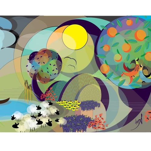Bold concept for wallpaper illustration
