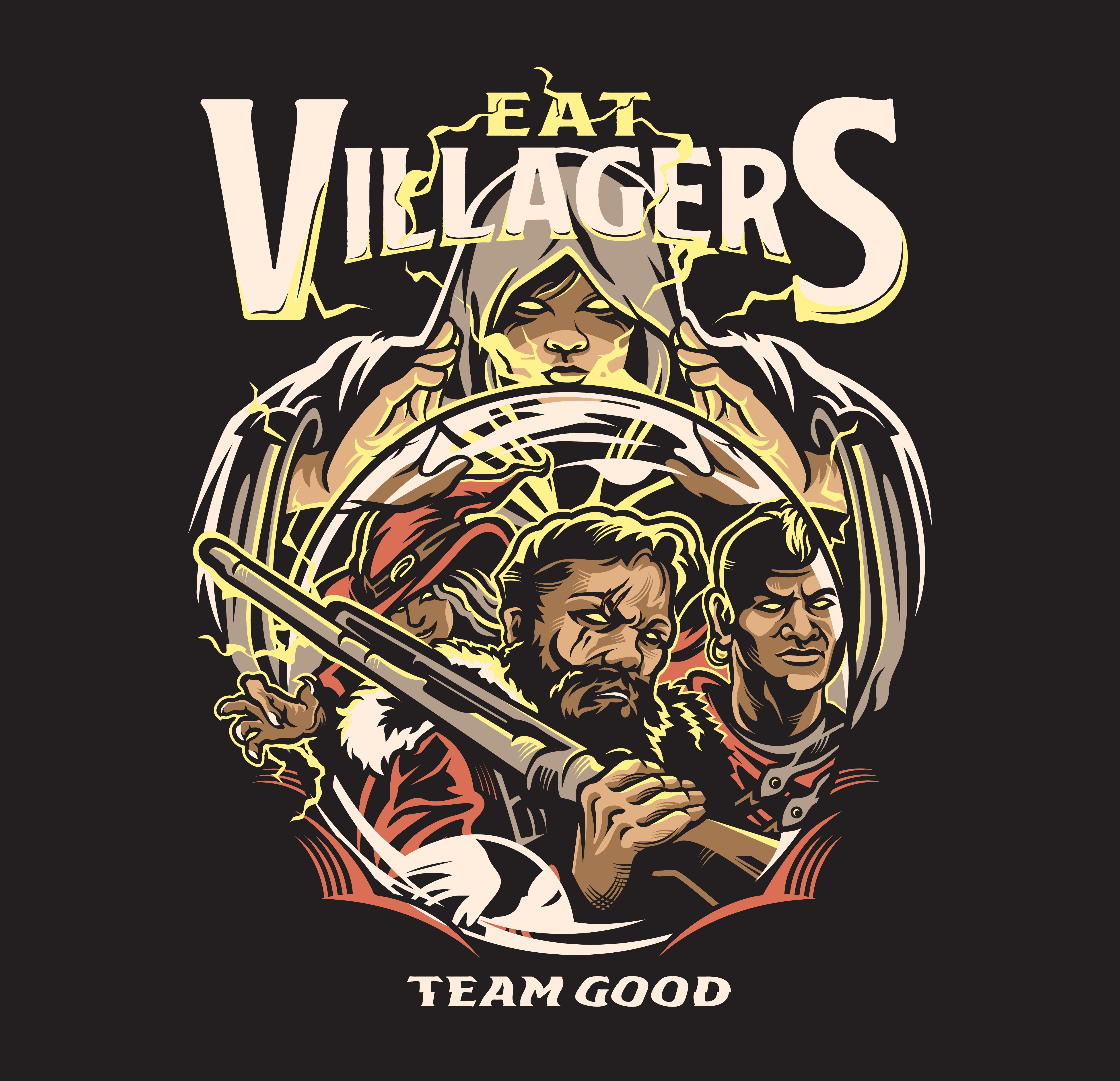 Create the 2019 shirt for EatVillagers, a company specializing in the game Werewolf. AWOOO!