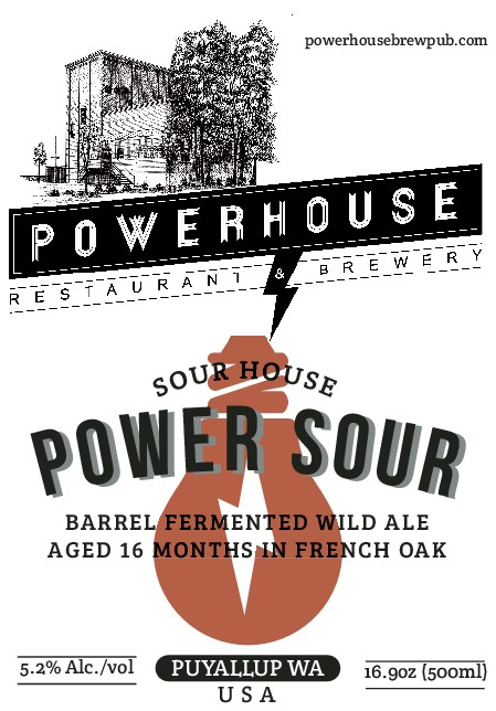 Beer bottle label template for Powerhouse Restaurant & Brewery