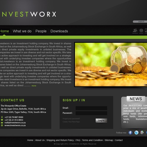 New website design wanted for Investworx