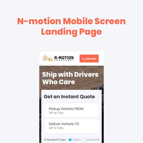 N-motion mobile Landing page