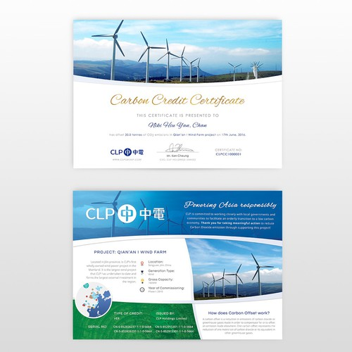 Certificate design for green energy company