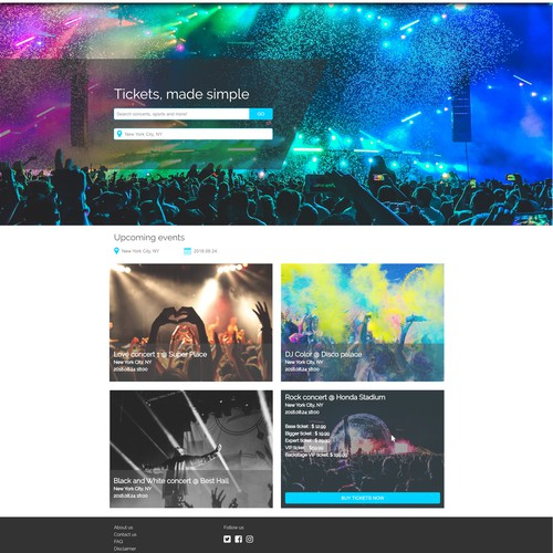 website concept for a ticket selling company