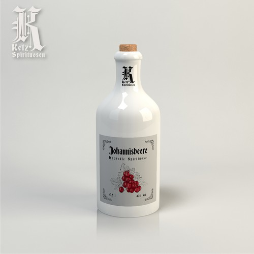 Paper label and screen-print logo for liquor manufacture