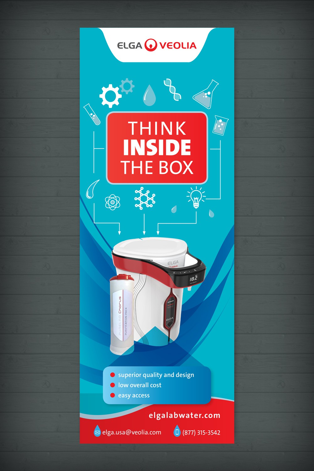 Design a print ad with the phrase Think Inside The Box