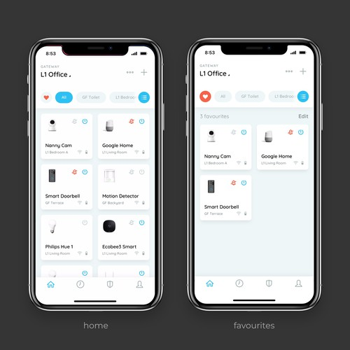 Clean app design for a smart home.