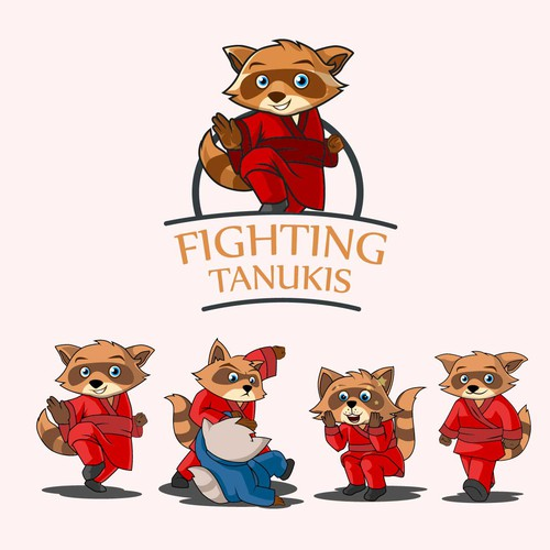 Fighting tanukis