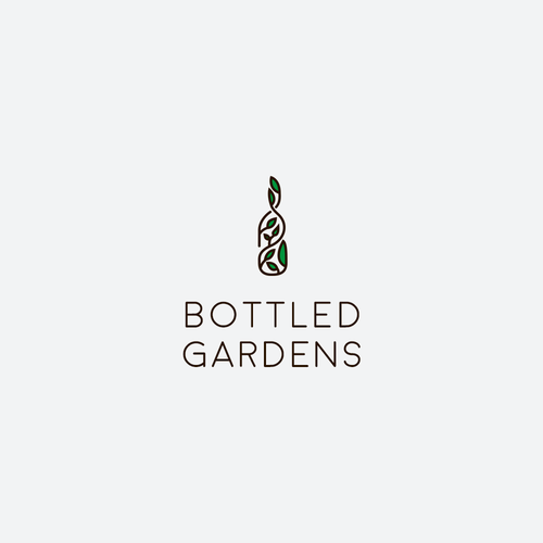 Eye catching nature-y logo for Bottled Gardens essential oil company!