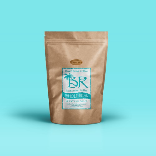 Coffee Bag Label Design for Beach Roast Coffee
