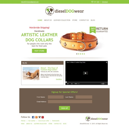 Improve a web page for a dog loving company