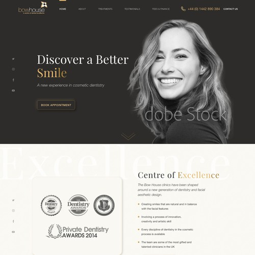 Home page concept for a high end dentist