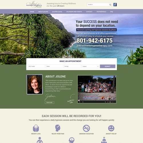 Home Page Design For Jolene Shields Hypnotherapy