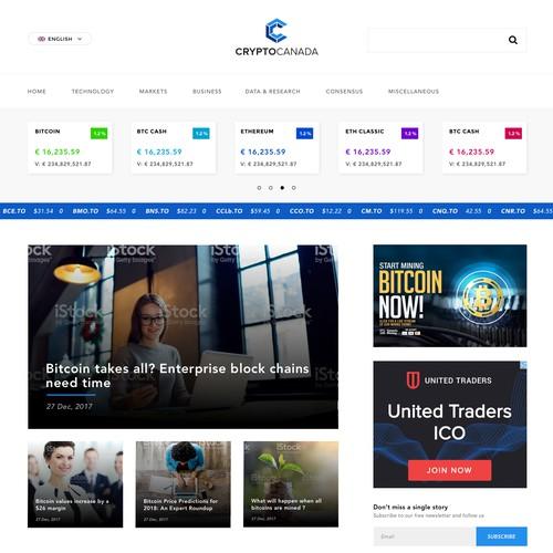 Crytocurrency Informational Blog Homepage Design