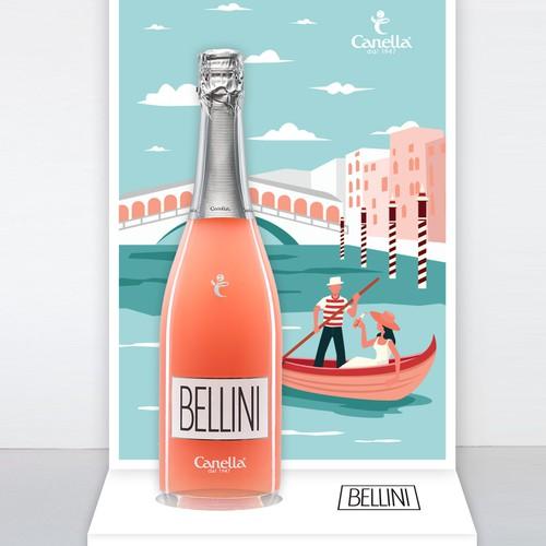 Bellini cocktail paper display