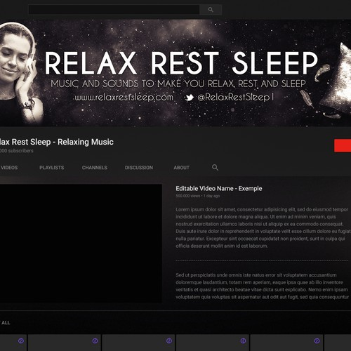 Youtube cover for a channel dedicated to relaxing music and sounds to help people rest