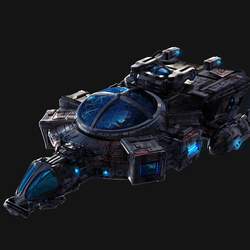 Space Ship in 3D Model