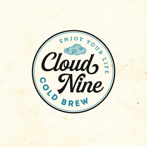Logo and background illustrations for Cloud Nine Cold Brew Coffee