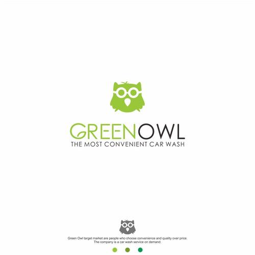 green owl logo concept