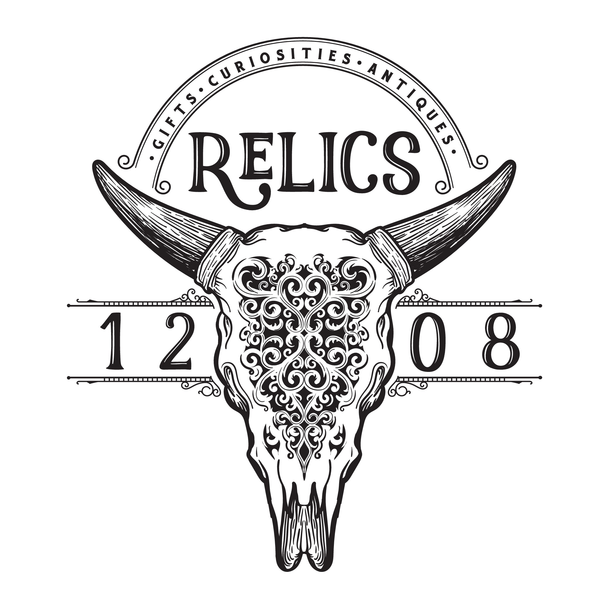 Carved Cow Skull logo for Gift & Curiosities Shop