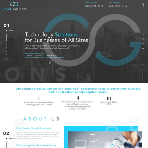 Simple and minimalistic website for CouldG Solutions