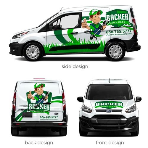 Backer Lawn Care Van Wrap Design