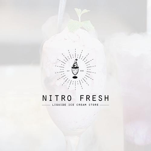 Classic but elegant logo with Nitrogen Ice Cream Store