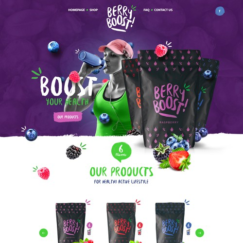 Design a sleek and clever, modernized eye catching ecommerce website for BerryBoost.