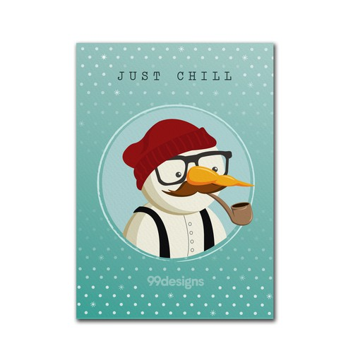 "Hipster Snowman say's ""Just Chill"""