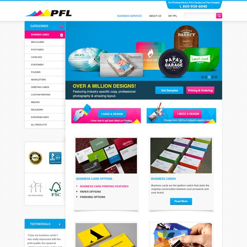 Create an e-commerce webpage for a commercial printer