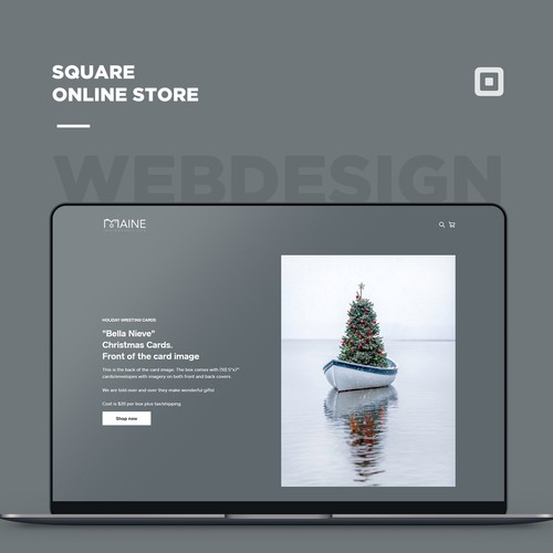 Square online store for a greeting card sales page