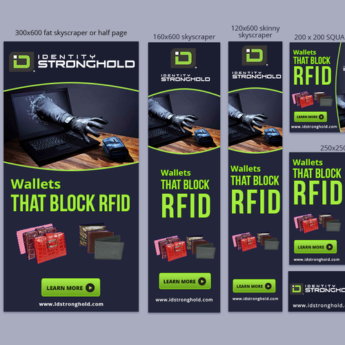 Banner Ads for Industry Leading RFID wallet company