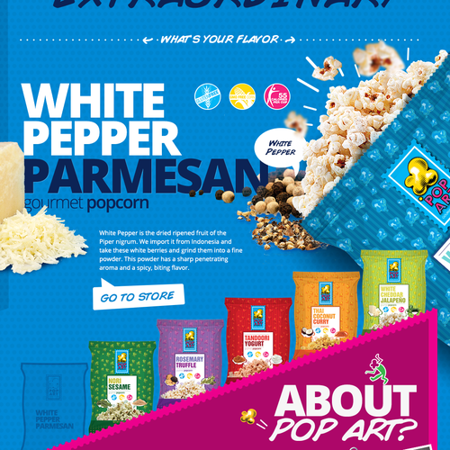 Redesign a unique website for a fun gourmet popcorn company!
