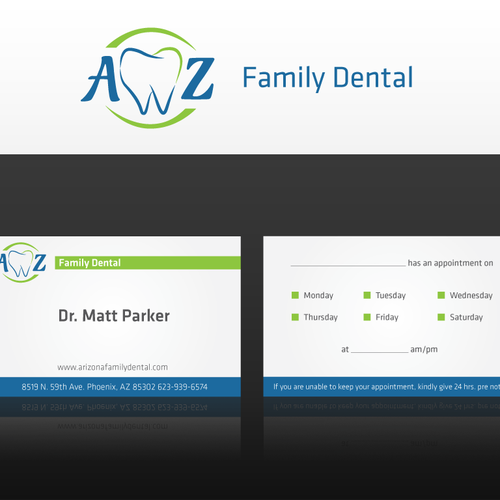 Help AZ Family Dental with a new logo and business card