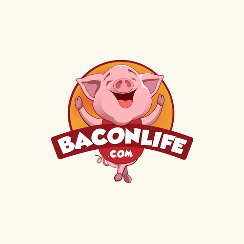 Cartoony pig character for bacon preparing business.