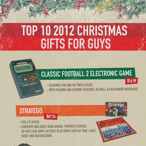 Christmas gift guide for guys - Infographic design