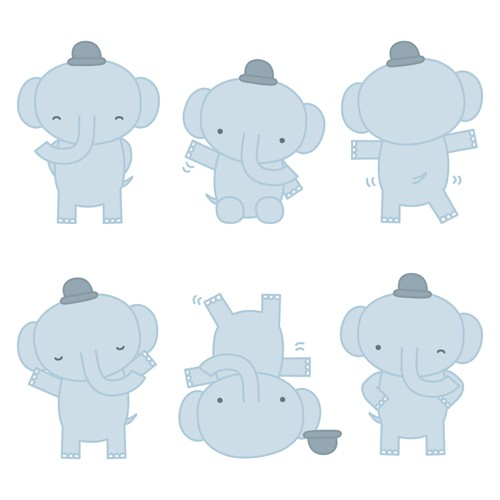 Cute elephant character design