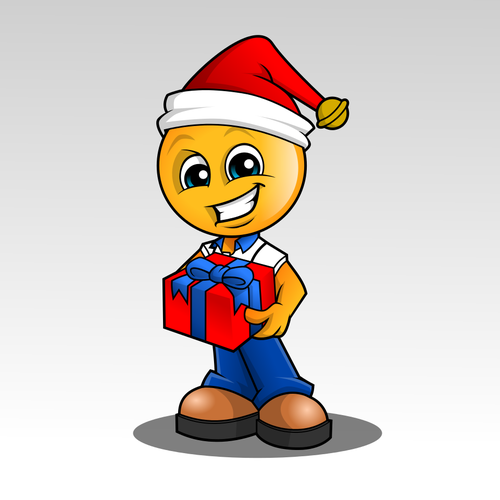 Smiley Character with a gift, seasonal