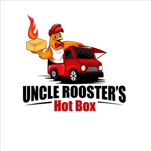 food truck with rooster mascot