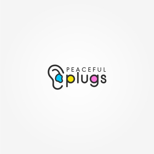 a clean and simple logo for custom earplugs company, Peaceful Earplugs